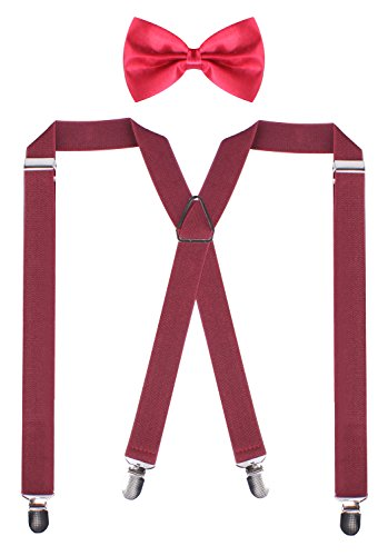 PZLE Adjustable Suspenders Bowties Weddings