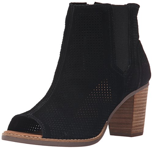 TOMS Women's Majorca Peep Toe Mid Calf Boot, Black Suede Perforated, 5.5 Medium ()