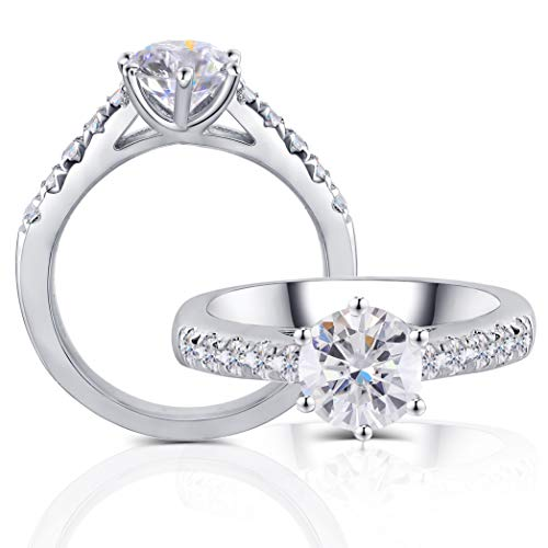 DovEggs Platinum Plated Silver Center 1ct 65mm HI Color 3mm Width Moissanite Engagement Ring Solitare with Accents 5