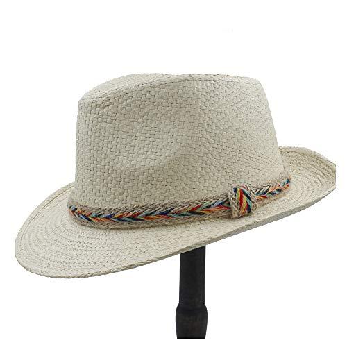 58 Dark Khaki Color - Fashion Sun Hat Raffia Hat Men's Summer Straw Hat Beach Sun Hat Panama Straw Jazz Straw Hat Woven Belt Styling (Color : Light Khaki, Size : 56-58CM)
