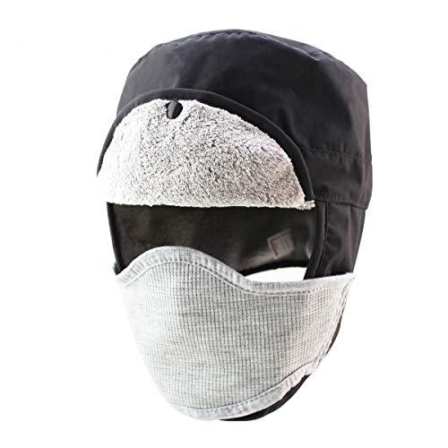 LLmoway Men Winter Trooper Trapper Hunting Hat Earflap Fleece Hat with Detachable Face Mask Black