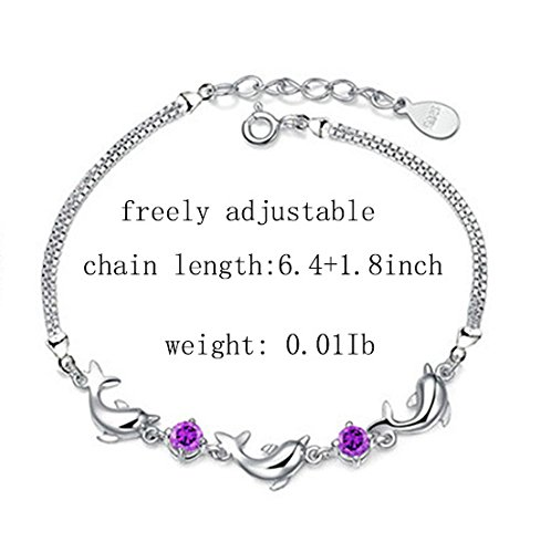 menoa Dolphin Link Bracelet 6.4inches Adjustable Chain White Gold Plated Gifts for Mom Lover