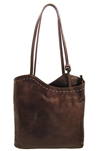 Cuoieria Fiorentina Italian Leather Convertible Shoulder Backpack Handbag (Brown) by Cuoieria Fiorentina