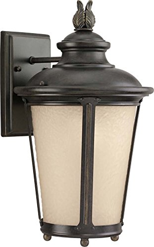 - Sea Gull Lighting 8824191S-780 Cape May LED Outdoor Wall Lantern with Etched Hammered Light Amber Glass Diffuser, Burled Iron Finish
