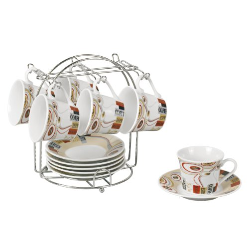 - Lorren Home Trends 13-Piece Porcelain Espresso Cup Set with Iron Stand, Coffee Design, Brown, Red and White
