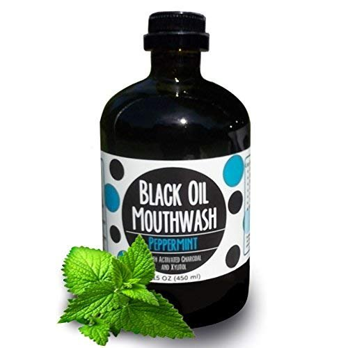 (Black Oil Mouthwash, Sweet Peppermint, Coconut + Sesame + Avocado Oil Super Blend, 15 oz Glass Bottle, Activated Charcoal & Xylitol for Oil Pulling & Brushing. Whitening, dry mouth & remineralization)