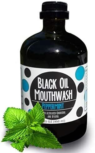 Black Oil Mouthwash, Sweet Peppermint, Coconut + Sesame + Avocado Oil Super Blend, 15 oz Glass Bottle, Activated Charcoal & Xylitol for Oil Pulling & Brushing. Whitening, dry mouth & remineralization