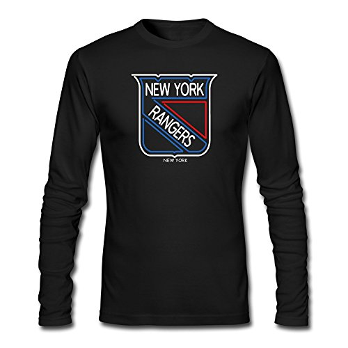 New York Rangers Neon Sign Logo T-shirts Mens Long-Sleeve Black