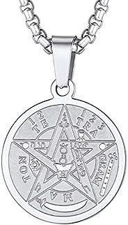 Colar de pentagrama U7, corrente de aço inoxidável, símbolo de amuleto de talismã antigo, joia com pingente de