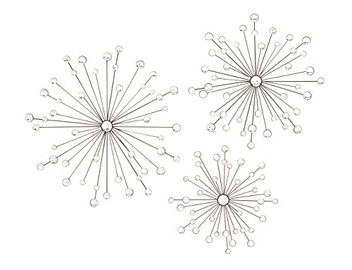 Set of 3 Black Metal Jeweled Starburst Wall Decor - 24 Inches, 20 Inches and 16 Inches Diameter