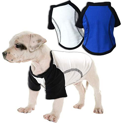 Chol&Vivi Dog Shirts Jerseys, Dog Sports Jerseys T-Shirts for Dogs, 2pcs Sports Shirts Hoodies for Small Dogs Boy Dogs Girls, Causal Shirts for Dogs, Back Length 9
