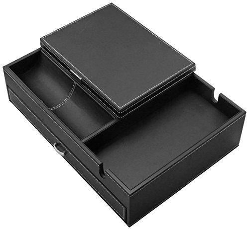 "HOUNDSBAY ""Admiral"" Big Dresser Valet Box & Mens Jewelry Box Organizer with Large Smartphone Charging Station"