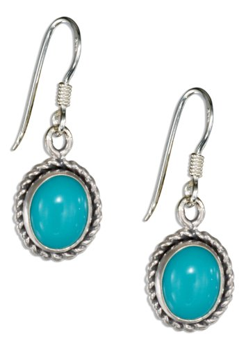 Sterling Silver Roped Edge Oval Simulated Turquoise Earrings with French Wires (Wire Oval Turquoise French Earrings)