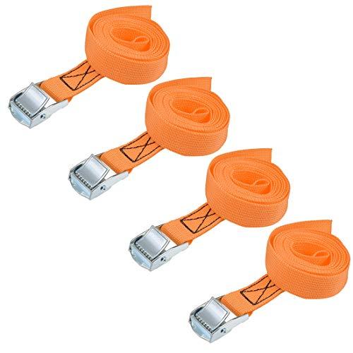 uxcell 荷物ストラップ ラチェット式 ベルト 荷物固定ロープ 荷物落下防止 カムバックル付き ロード250Kg 2Mx25mm オレンジ 4本入