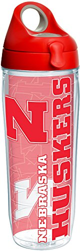 Tervis 1220454 Nebraska Cornhuskers College Pride Tumbler with Wrap and Red with Gray Lid 24oz Water Bottle, Clear ()