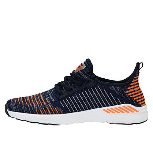AFFINEST Laufschuhe Für Männer Frauen Breathable Slip On Turnschuhe Für Walking Fitness Cross-Training Hausschuhe Blau-Orange