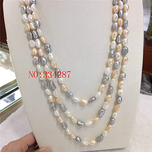 Davitu Natural Freshwater Pearl 8-9MM Pink Gray White Freshwater Pearl Baroque Irregular Pearl Necklace 60 Inches - (Main Stone Color: Multi, Length: Other)