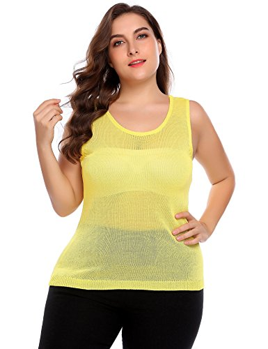 IN'VOLAND Plus Size Women's Sleeveless Scoop Neck Tops Ladies Jumper Sweater Vest (Sweater Neck Scoop Vest)