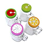 4 x 20oz Mason Jar Mugs with Handles, Lids, Reusable Straws | Fruit Patterned Stainless Steel Lids and Straws | Glass Drinking Cup Regular Mouth | BPA Free, Food Grade | Dishwasher Safe | 23 Bees