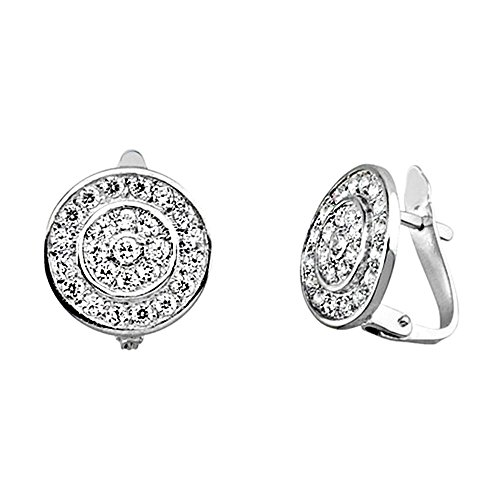 Boucled'oreille 18k blanc rond d'or zircons [AA6598]