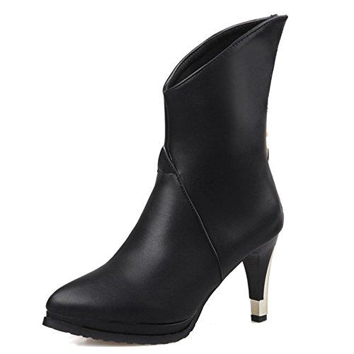 Fashion Heel Womens Pointed Toe Platform Stiletto Heel Mid Calf Boot with Back Zip Black rbZbdpiFi