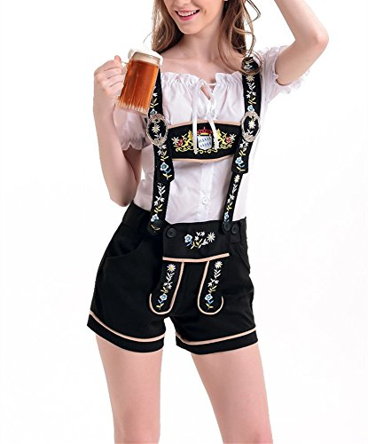 M_Eshop Women's Oktoberfest Costume Lederhosen Beer Girl Costume Sexy Maid Halloween Party (US (8-10))]()