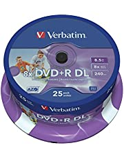 Verbatim DVD+R DL 8,5GB 8X Spindel. 25 Stuk zwart