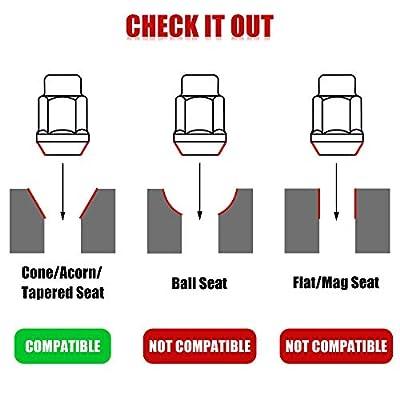24PCS 1.4 inch Chrome 14x1.5 Closed End Bulge Acorn Lug Nuts - Cone Seat - 19mm Hex Wheel Lug Nut for Cadillac Chevy K1500 K2500 Silverado Suburban 1500 GMC K1500 Yukon: Automotive