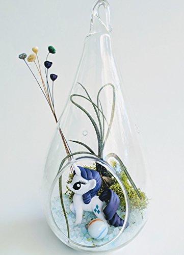 "Unicorn Terrarium Kit with 7"" Teardrop Glass and Tillandsia Air Plant Fairy Garden Custom Gift Box Thanks Happy Birthday Present"