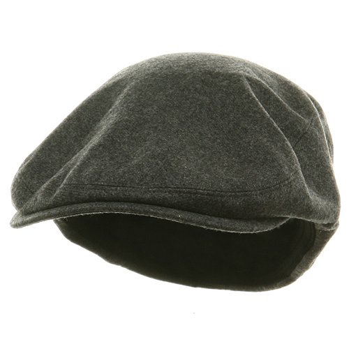 E4hats Wool Cap (Big Size Elastic Wool Ivy Cap - Charcoal (For Big Head))