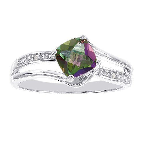Sterling Silver Cushion Cut Mystic Fire Topaz Diamon Accent Ring (I-J I-1 I-2)