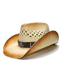 ZLQ Fashion Women Western Cowboy Hat With Punk Skull For Lady Beach Sun  Sombrero Mesh Cowgirl f735e7175ebd