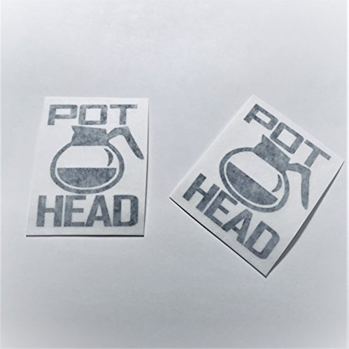 Pot Head Coffee Love Vinyl Decal Black Two Pack No Borders (Border Coffee Pot)