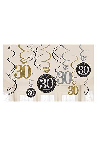 Amscan Sparkling Celebration 30 Value Pack Foil Swirl Decorations, Party Decor, Multicolor, One Size, 12ct -