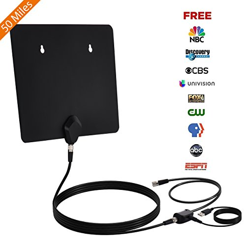 TV Antenna, Thuctek Digital HD TV Antenna Indoor 50 Miles Amplified TV Antenna with Detachable Signal Amplifier and 10 Feet Coaxial Cable by Thuctek