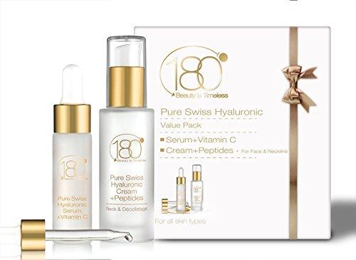 Hyaluronic Acid Facial Serum and Cream Kit - 180 Cosmetics - 2 Best Sellers In 1 Kit - Hyaluronic Acid Serum With Vitamin C & Hyaluronic Acid Cream With Peptides - Anti Aging Serum - Wrinkle Cream