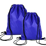 Cheap Swesy Light-Weight Sports Portable Running Swimming Backpack Gym Sack Pack Drawstring Bag Travel Daypack (Pack of 2 Blue)
