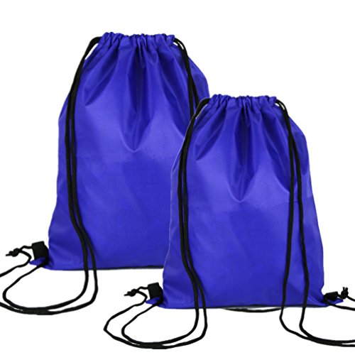 Swesy Light-Weight Sports Portable Running Swimming Backpack Gym Sack Pack Drawstring Bag Travel Daypack (Pack of 2 Blue)