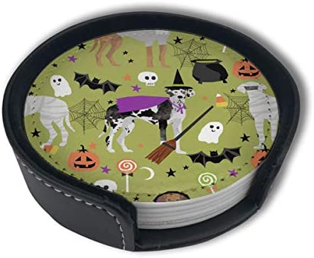 Halloween Great Dane Green Dog Witch Home Decor Mark Cup Mat Pu Leather Set Of 6 Dining Table Decorations Round Coasters Gift Ornament Beer Mats Car Coasters