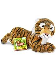Endangered and Extinct Tiger knuffel met educatieve hangtag, Tiger Soft Toy, 35cm, Sumatraan Tiger Gevuld dier, knuffels en behoud