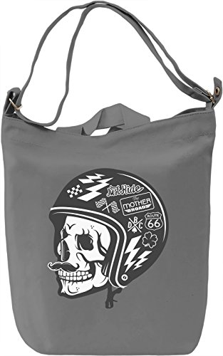 Biker skull Borsa Giornaliera Canvas Canvas Day Bag| 100% Premium Cotton Canvas| DTG Printing|