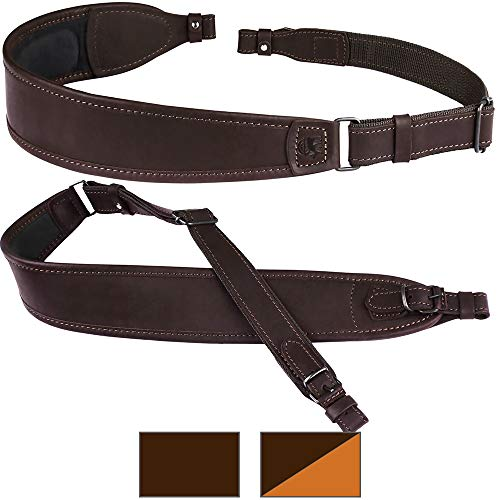 (BronzeDog Leather Rifle Sling Waterproof Shoulder Strap Hunting Accessories Soft Padded Neoprene Shotgun Belt (Brown Top))