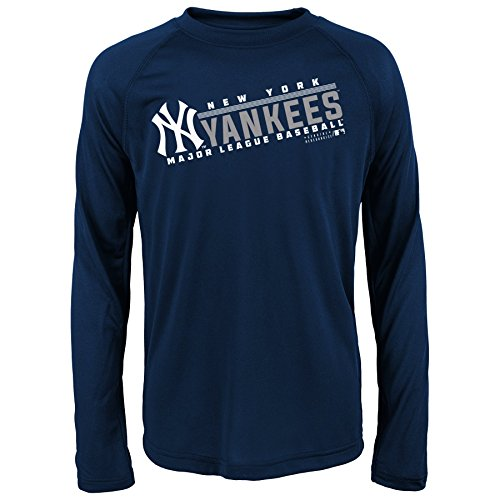 MLB Youth 8-20 Yankees performance Long sleeve Tee, S, Athletic Navy