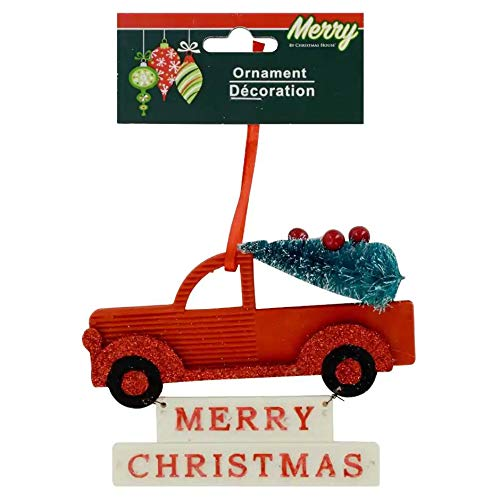 Christmas Decorations Celebrate a Holiday Small Red Truck with Tree Hanging Ornaments Decor Glittery Home Living Room Fireplace Indoor Decor Merry X-Mas School Office Church Wedding Party Porch Decore