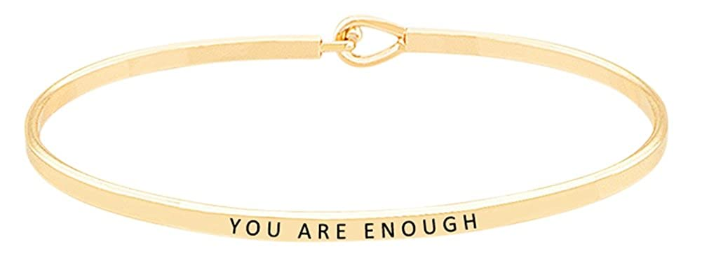 ''You are Enough'' Inspirational Quote Mantra Phrase Engraved Thin Bangle Hook Bracelet - Positive Message Jewelry Gifts for Women & Teen Girls (Gold) GGG Boutique