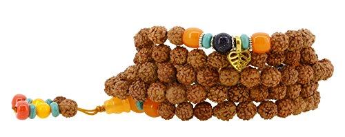 Handmade Tibetan Elastic String 8mm Rudraksha Purple Goldstone 108 Prayer Beads Yoga Meditation Mala Wrap Bracelet with Removable Charms (Bodhi Leaf)