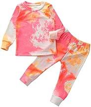 Kosusanill Kids Toddler Baby Girl Boy Tie Dye Outfit Clothes Two Piece Pajamas Lounge Set Sleepwear Homewear C