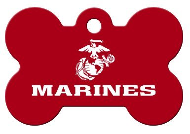(America's Armed Forces Collection Licensed Personalized Custom Engraved Pet ID Tags! (Marines (Bone), Small))