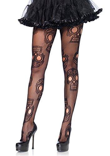 Leg Avenue Women's Hosiery, Black Sugar Skull, One Size
