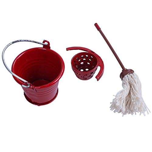 TOOGOO(R) Dollhouse Miniature Kitchen Garden Red Metal Bucket With Mop